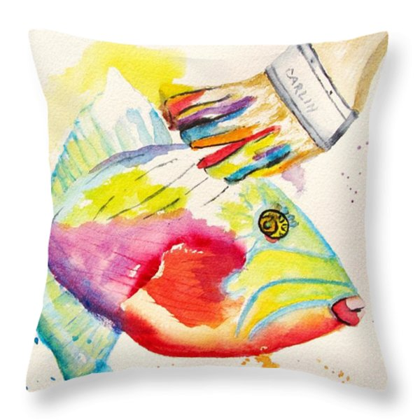 Color Transition - Triggerfish Throw Pillow by Carlin Blahnik