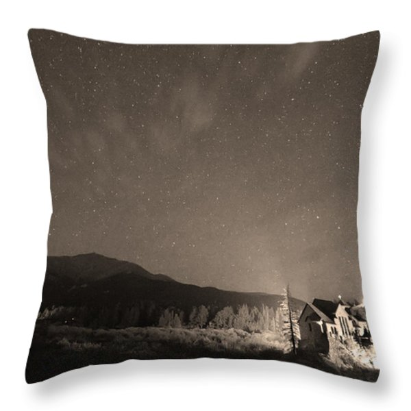 Colorado Chapel On The Rock Dreamy Night Sepia Sky Throw Pillow by James BO  Insogna
