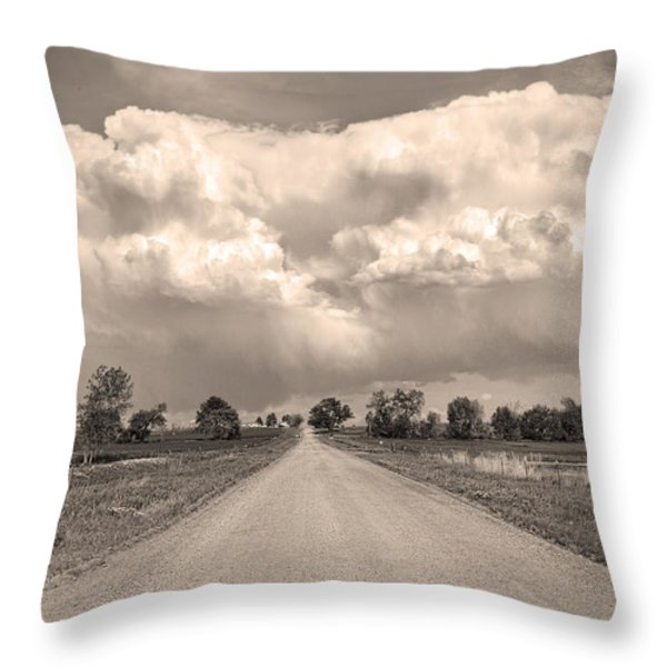 Colorado Country Road Stormin Sepia  Skies Throw Pillow by James BO  Insogna