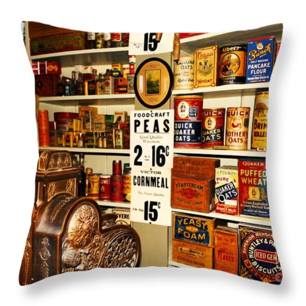 Colorado General Store Supplies Throw Pillow by Janice Rae Pariza