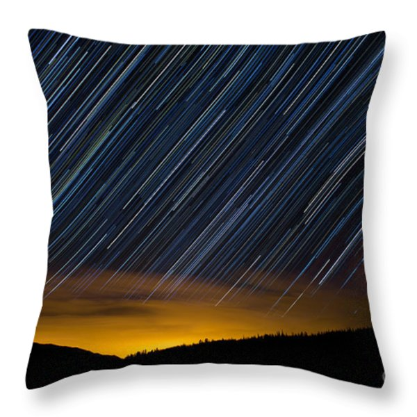 Colorado Mountain Startrails Throw Pillow by Benjamin Reed