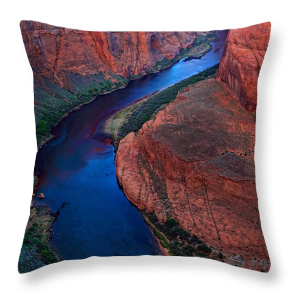 Colorado River Bend Throw Pillow by Inge Johnsson