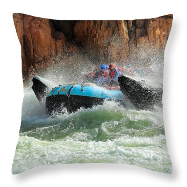 Colorado River Rafters Throw Pillow by Inge Johnsson