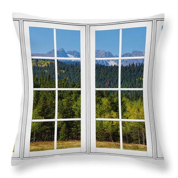 Colorado Rocky Mountains White Window Frame View Throw Pillow by James BO  Insogna