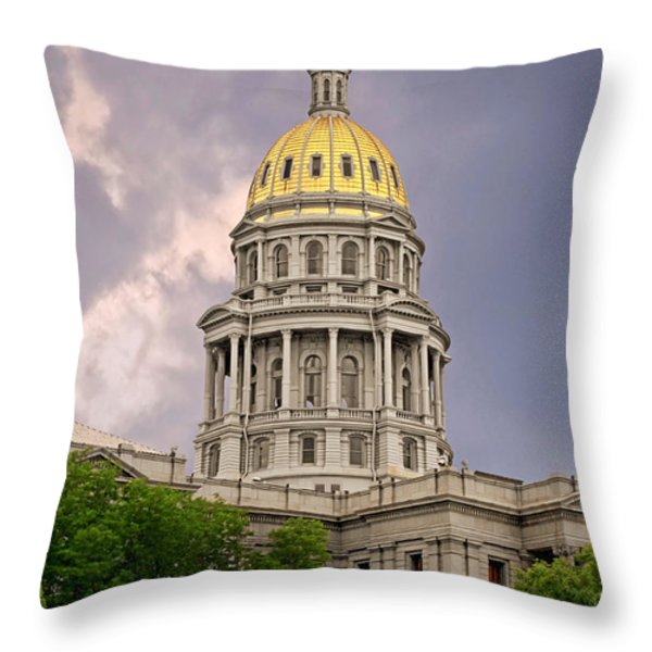 Colorado State Capitol Building Denver CO Throw Pillow by Christine Till