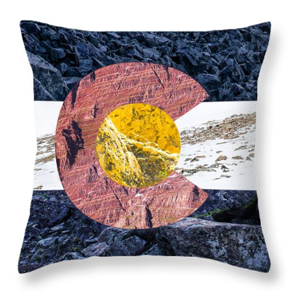 Colorado State Flag With Mountain Textures Throw Pillow by Aaron Spong