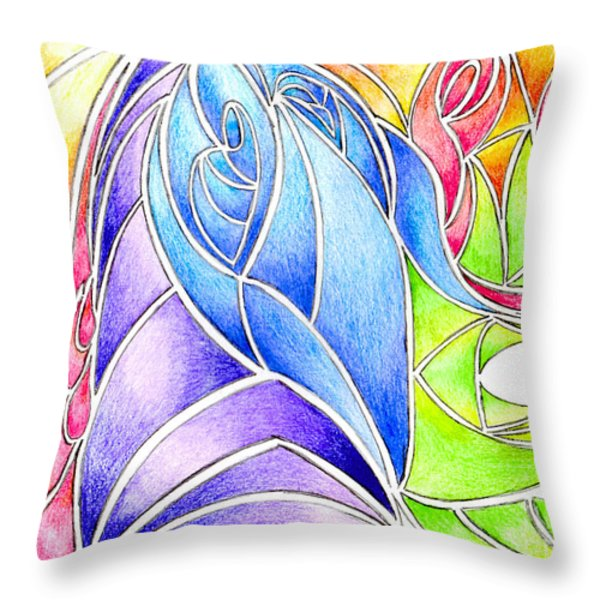 Colorful Abstract Drawing Throw Pillow by Minding My  Visions by Adri and Ray