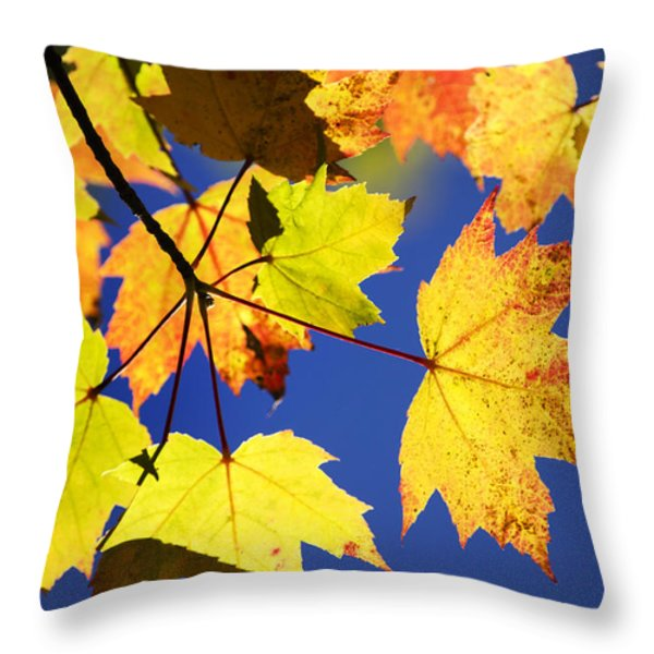 Colorful Autumn Maple Leaves Abstract Art Throw Pillow by Christina Rollo