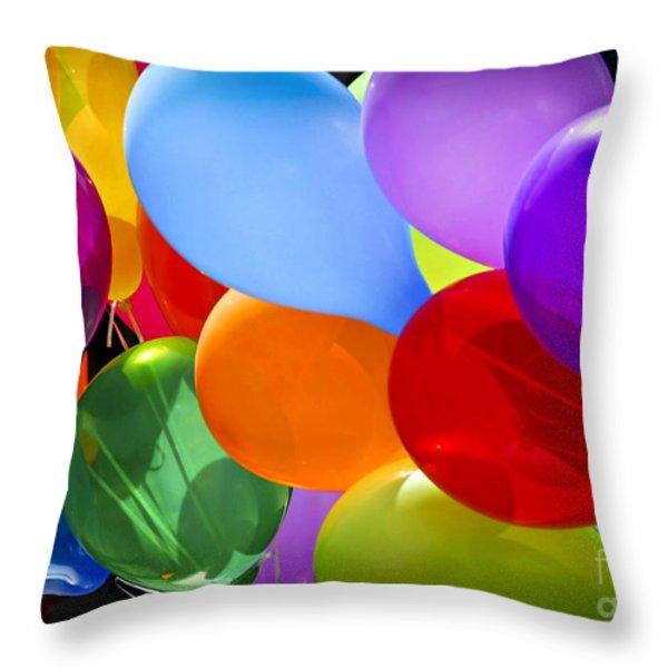 Colorful Balloons Throw Pillow by Elena Elisseeva