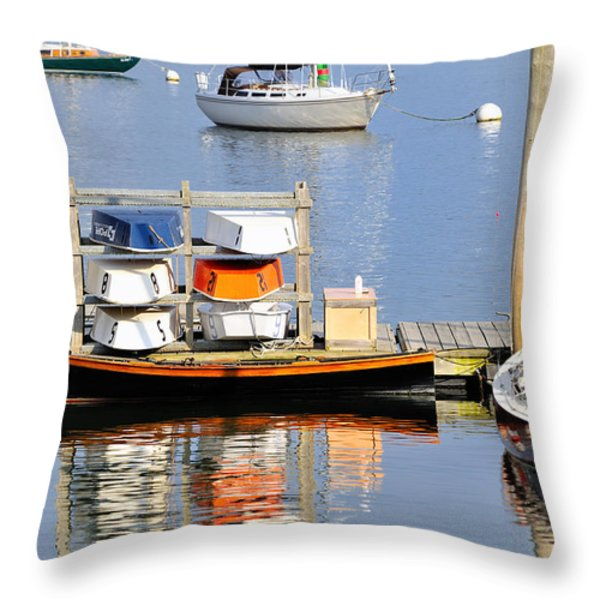 Colorful Boats Rockland Maine Throw Pillow by Marianne Campolongo