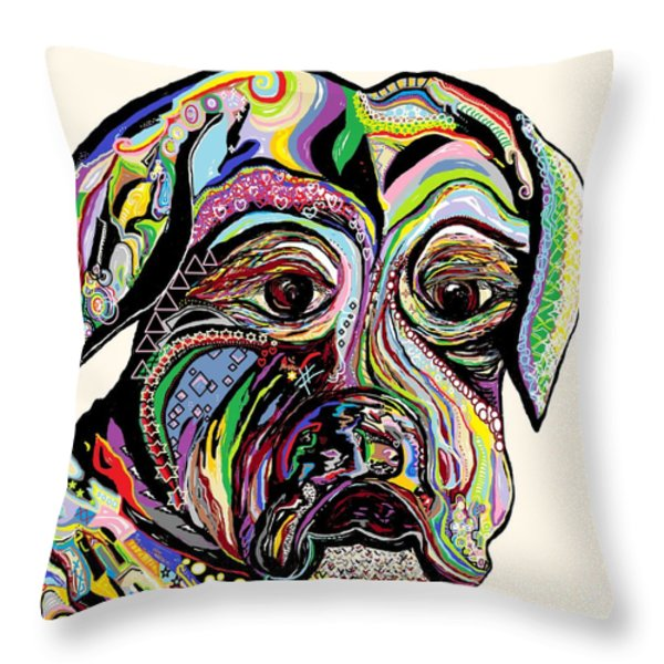 Colorful Boxer Throw Pillow by Eloise Schneider