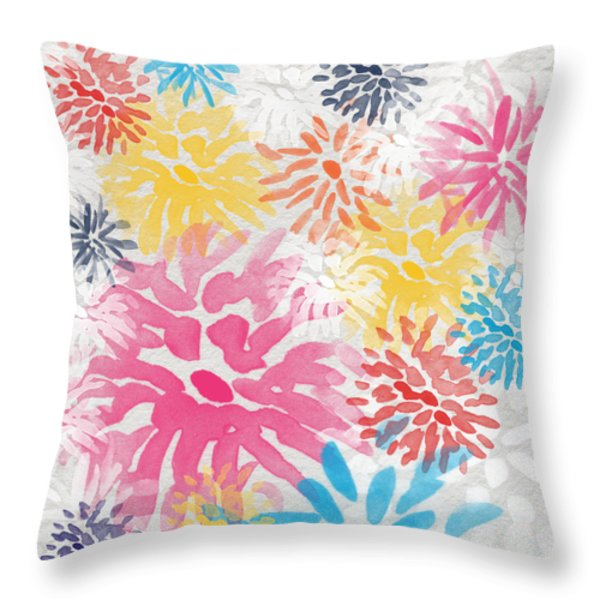 Colorful Chrysanthemums- abstract floral painting Throw Pillow by Linda Woods