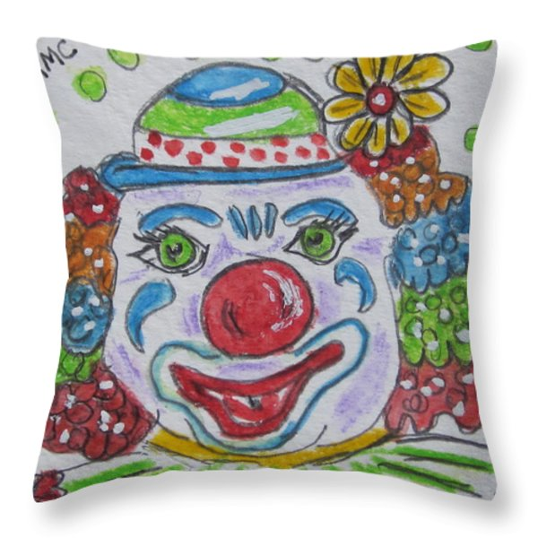 Colorful Clown Throw Pillow by Kathy Marrs Chandler