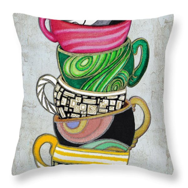 Colorful Coffee Cups Mugs Hot Cuppa Stacked II by Romi and Megan Throw Pillow by Megan Duncanson