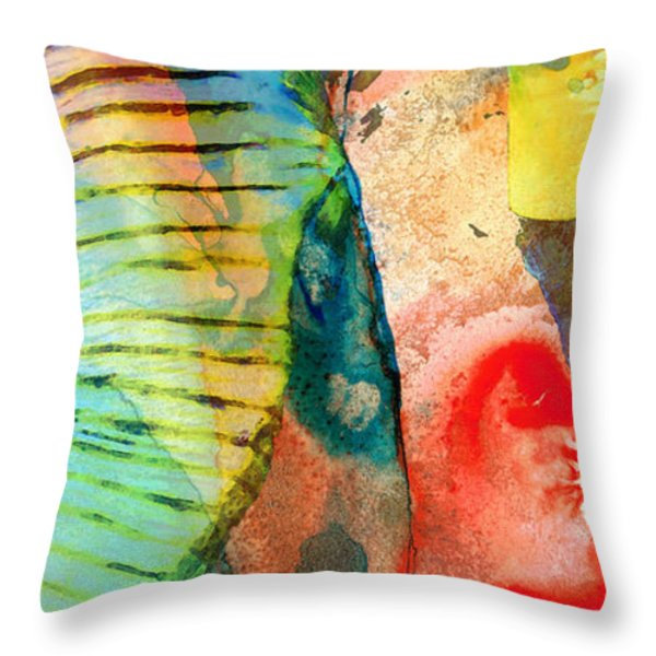 Colorful Elephant Art By Sharon Cummings Throw Pillow by Sharon Cummings