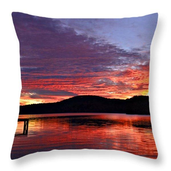 Colorful Evening Throw Pillow by Susan Leggett