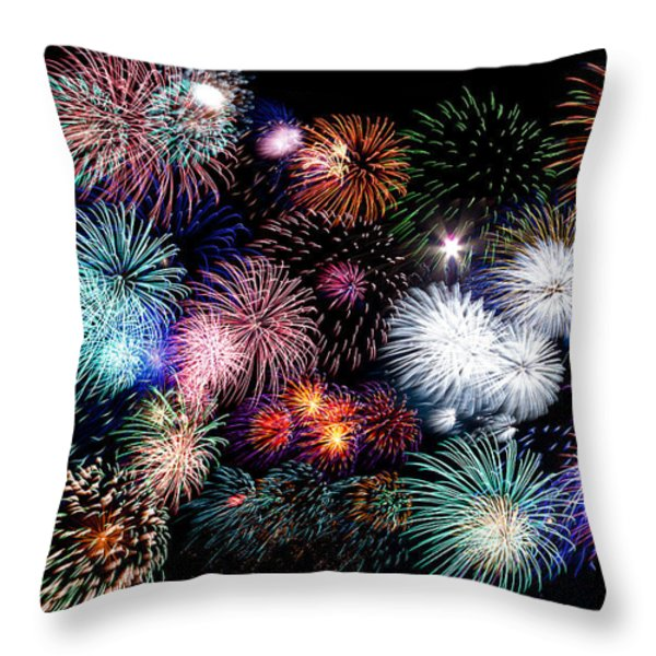 Colorful Fireworks Of Various Colors In Night Sky Throw Pillow by Stephan Pietzko