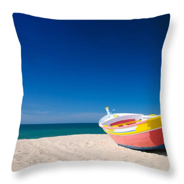 Colorful Fishing Boat Algarve Portugal Throw Pillow by Amanda And Christopher Elwell