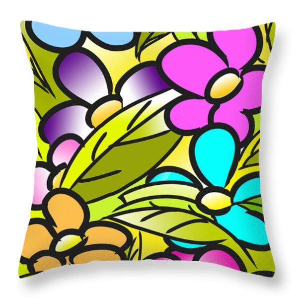Colorful Floral Nursery Wall Art Throw Pillow by Nursery Art