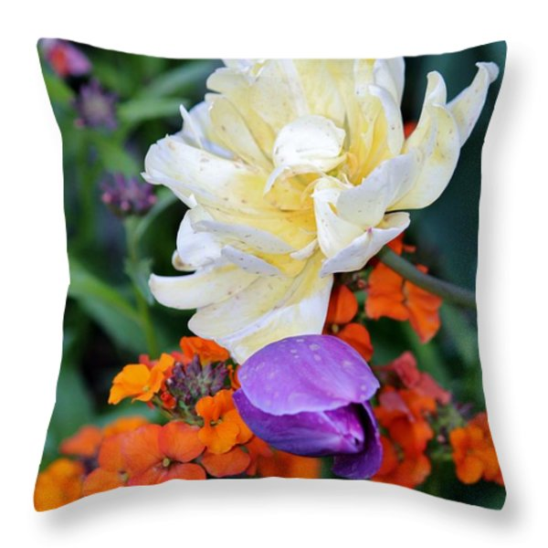 Colorful Flowers Throw Pillow by Cynthia Guinn