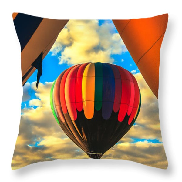 Colorful Framed Hot Air Balloon Throw Pillow by Robert Bales