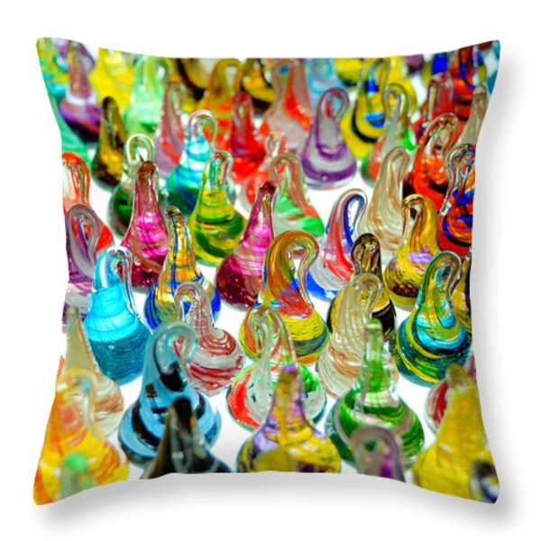 Colorful Glass Drops Throw Pillow by Amy Cicconi