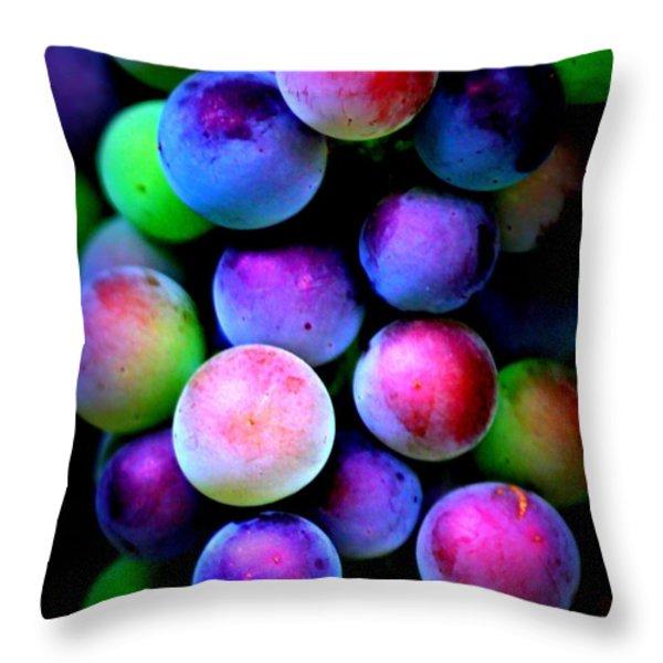 Colorful Grapes - Digital Art Throw Pillow by Carol Groenen