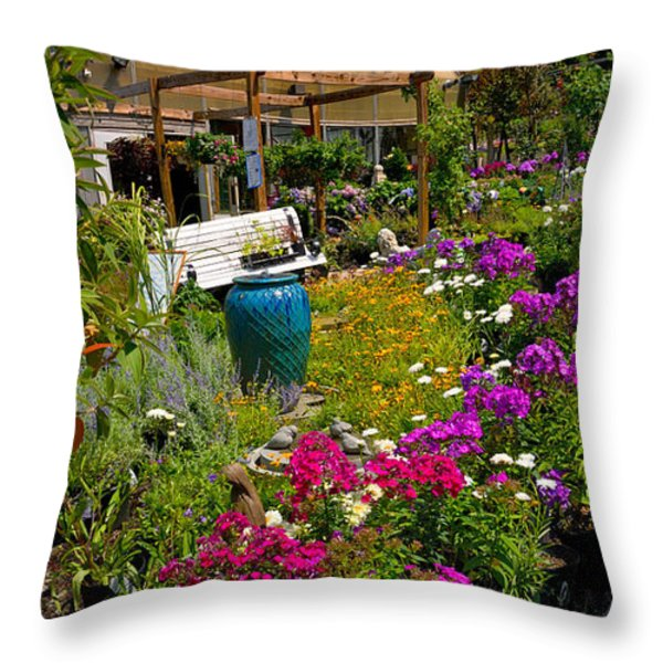 Colorful Greenhouse Throw Pillow by Amy Cicconi