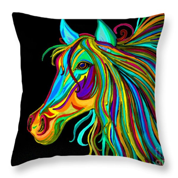 Colorful Horse Head 2 Throw Pillow by Nick Gustafson
