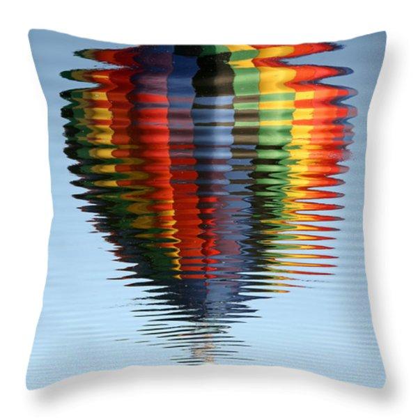 Colorful Hot Air Balloon Ripples Throw Pillow by Carol Groenen