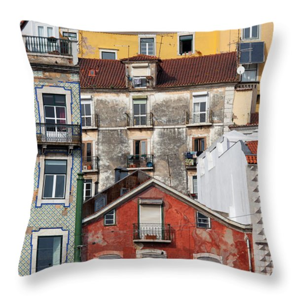 Colorful Houses In The City Of Lisbon Throw Pillow by Artur Bogacki