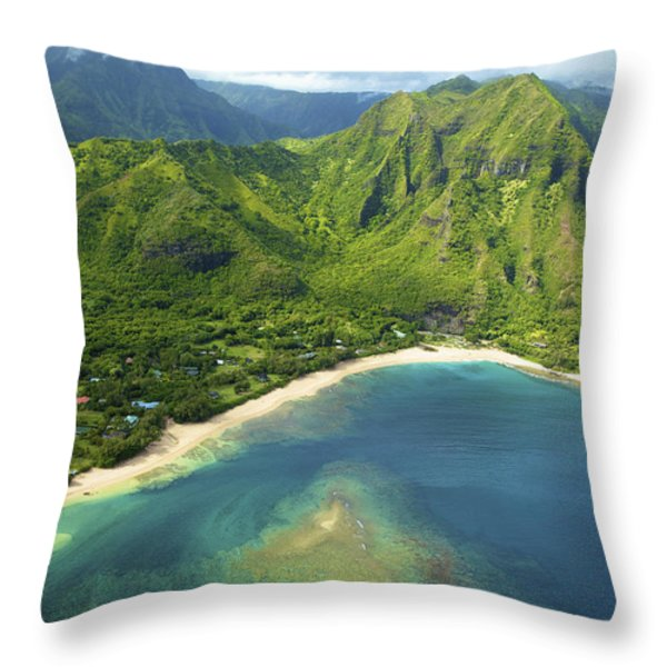 Colorful Kauai Coastline Throw Pillow by Kicka Witte
