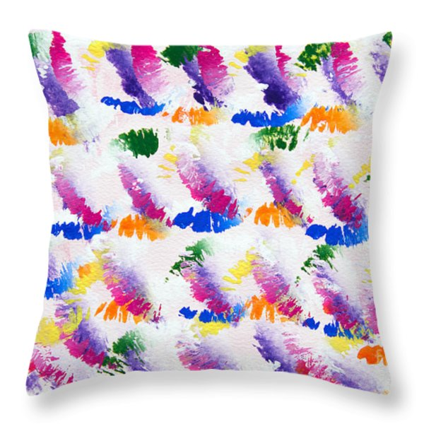 Colorful Kisses Throw Pillow by Andee Design
