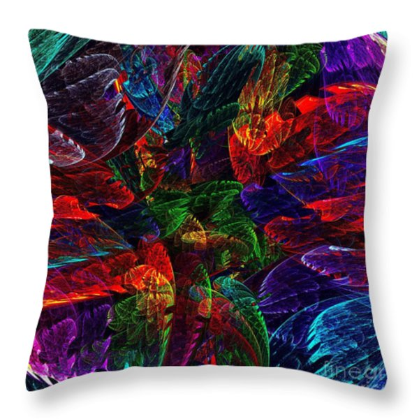 Colorful Leaves Throw Pillow by Klara Acel