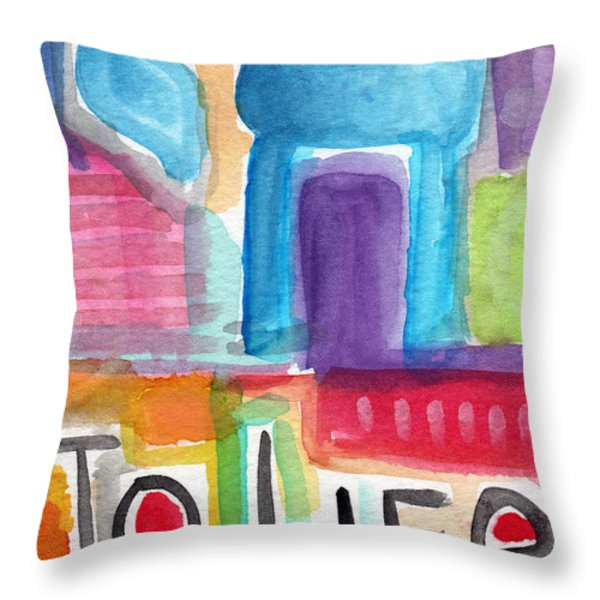 Colorful Life- Abstract Jewish Greeting Card Throw Pillow by Linda Woods