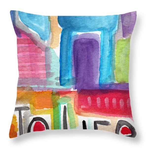 Colorful Life- Abstract Jewish Painting Throw Pillow by Linda Woods