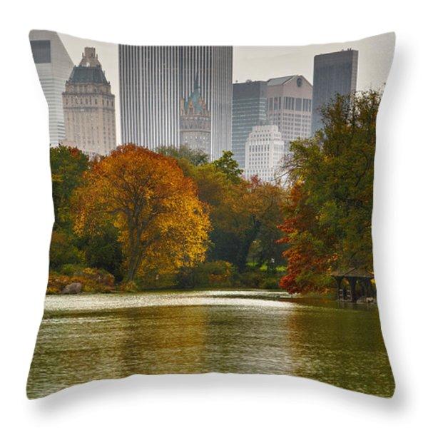 Colorful magic in Central Park New York City Skyline Throw Pillow by Silvio Ligutti