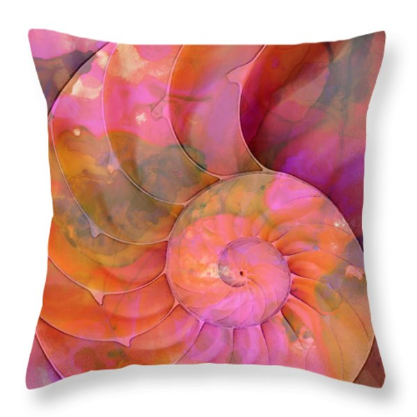 Colorful Nautilus Shell By Sharon Cummings Throw Pillow by Sharon Cummings