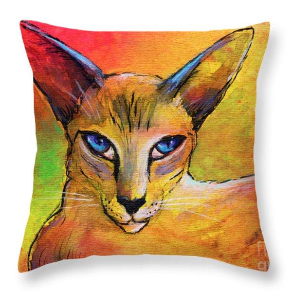 Colorful Oriental Shorthair Cat Painting Throw Pillow by Svetlana Novikova