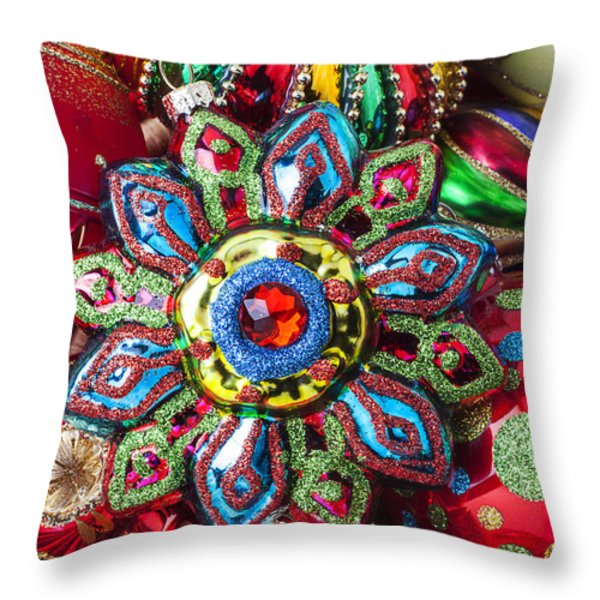 Colorful ornaments Throw Pillow by Garry Gay