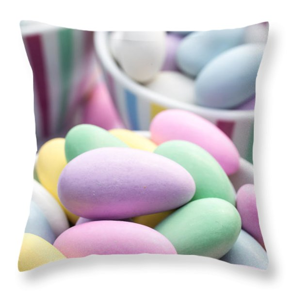 Colorful pastel jordan almond candy Throw Pillow by Edward Fielding