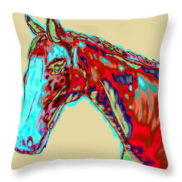 Colorful Race Horse Throw Pillow by Mark Moore
