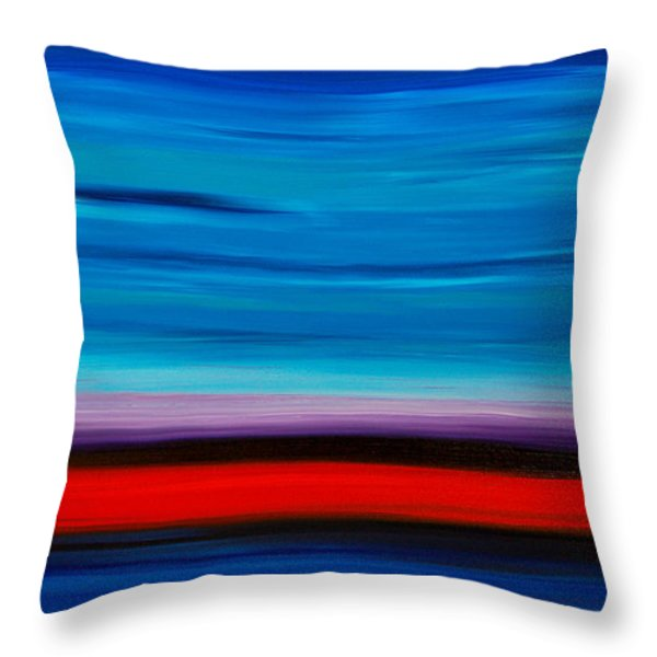 Colorful Shore - Blue And Red Abstract Painting Throw Pillow by Sharon Cummings