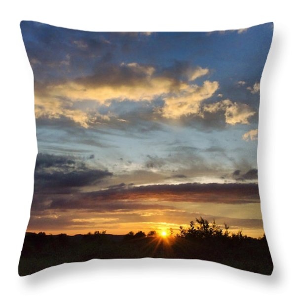 Colorful Sunset Landscape Throw Pillow by Christina Rollo