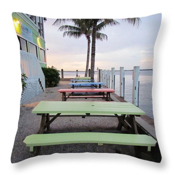 Colorful Tables Throw Pillow by Cynthia Guinn
