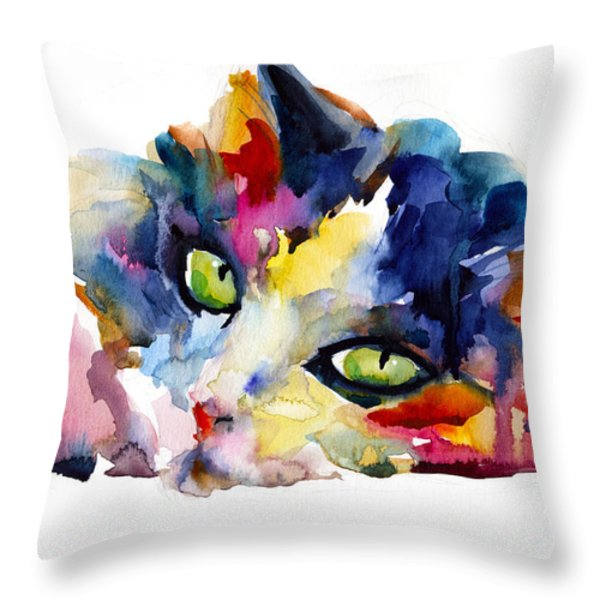 Colorful Tubby Cat Painting Throw Pillow by Svetlana Novikova