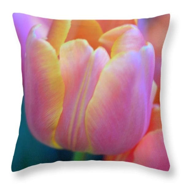 Colorful Tulip Throw Pillow by Kathleen Struckle