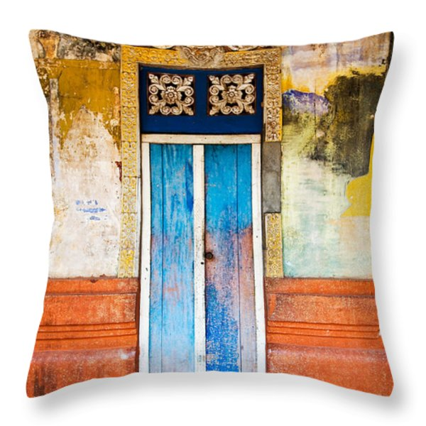 Colourful Door Throw Pillow by Dave Bowman