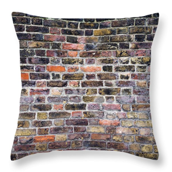 Colourful London Brick Wall Throw Pillow by Tim Gainey