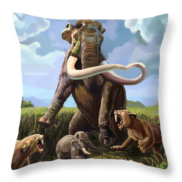 Columbian Mammoth And Saber-toothed Cats Throw Pillow by Spencer Sutton